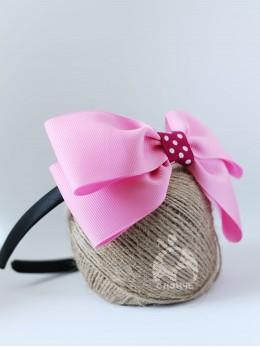 Диадема за коса с панделка светло розова, ръчна изработка