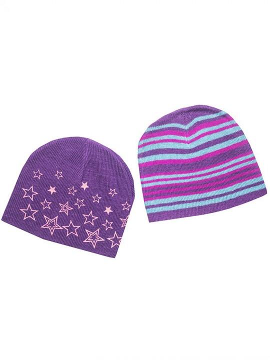 Детски зимни шапки в лилаво за момиче 2бр. комплект