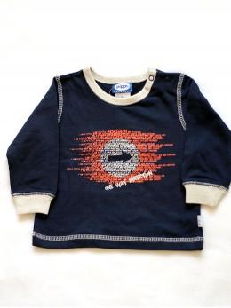 Памучна блузка с дълъг ръкав за бебе момче в тъмно синьо