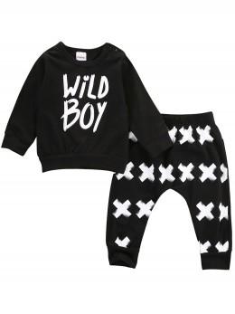 Бебешки комплект блуза и потури в черно Wild Boy