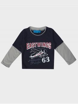 Детска блузка с дълъг ръкав за момче в тъмно синьо със самолет