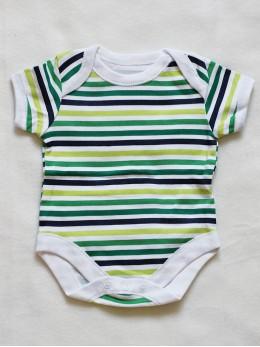 Бебешко боди с къс ръкав серия 'Дино', зелено райе
