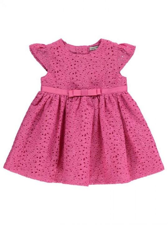 Красива официална рокля от дантела в нежно розово с коланче