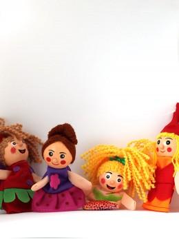 Плюшени образователни играчки за пръсти 'Феи и русалки' (4 бр. комплект)