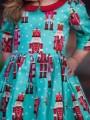 *ИЗЧЕРПАН* Детска коледна рокля в синьо с мотиви от 'Лешникотрошачката'