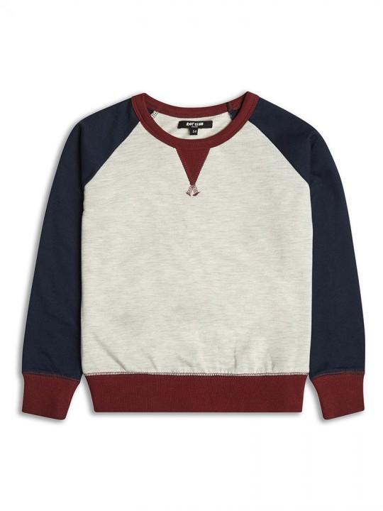Спортна блуза за момче с контрастни ръкави лека вата
