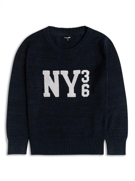 Памучен пуловер с дълъг ръкав за момче в тъмно синьо