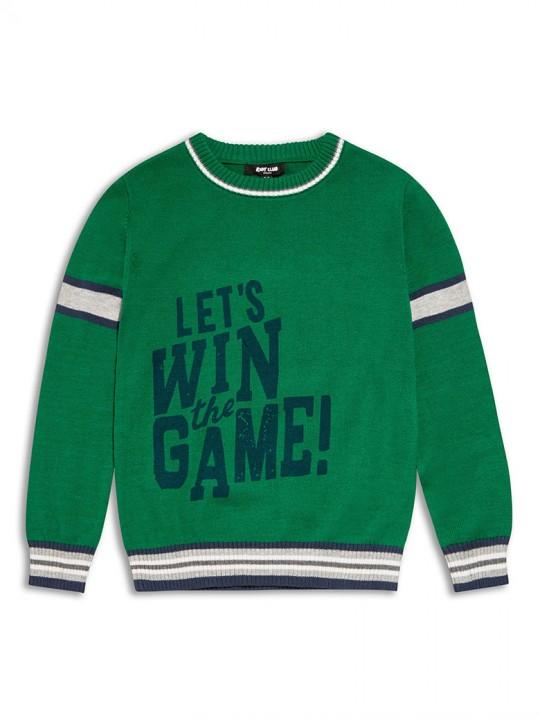 Тънък памучен пуловер с дълъг ръкав за момче в зелено