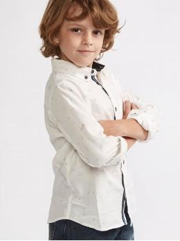 Елегантна ризка с дълъг ръкав за момче в бяло с принт