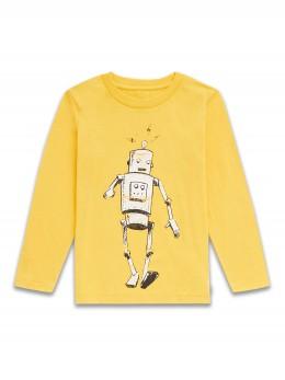Памучна блузка с дълъг ръкав за момче жълта с робот