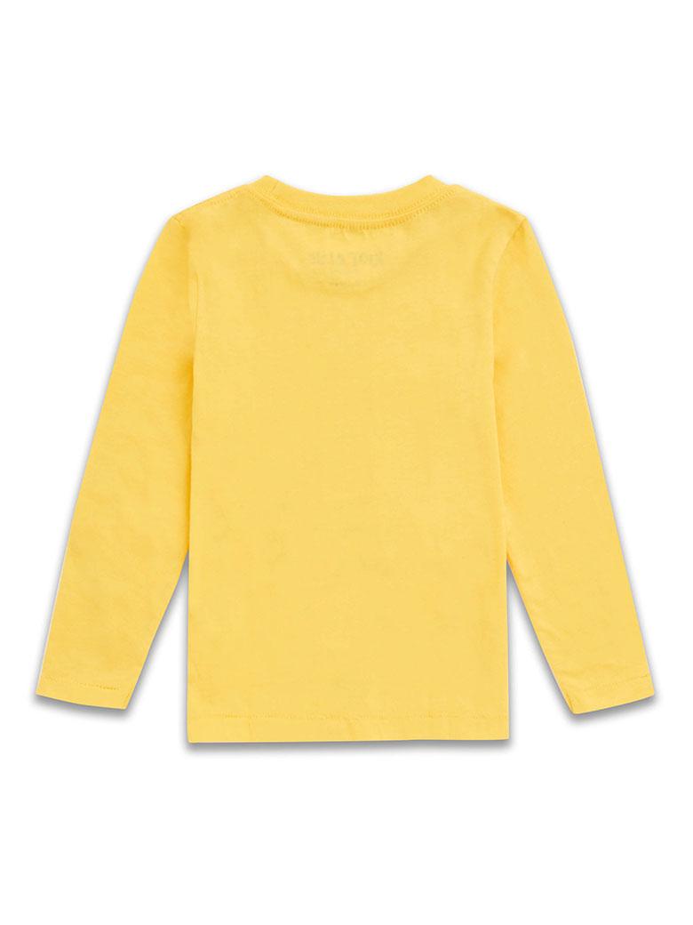 a2db9739f24 Памучна блузка с дълъг ръкав за момче в наситено жълто с голяма ...