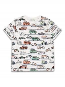 Тениска с къс ръкав за момче с щампа с коли, камиони и мотори
