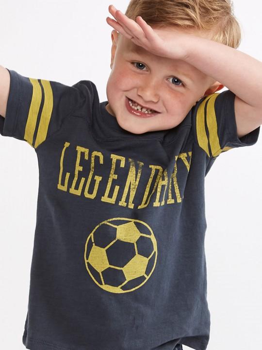 Тениска с къс ръкав за момче с футболна щампа