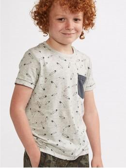 Тениска с къс ръкав за момче с оригинална щампа и джобче