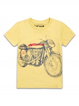 *ИЗЧЕРПАН* Тениска с къс ръкав за момче в жълто с щампа винтидж мотор