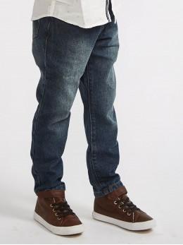 Памучни дънки за момче в тъмно синьо