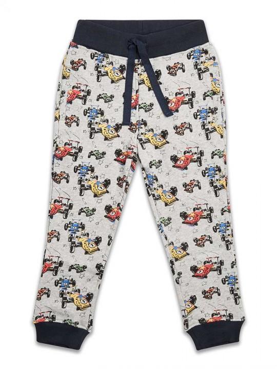 Ватиран спортен панталон за момче сив с рали автомобили