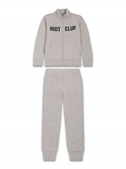 Спортен комплект за момче в сиво с надпис