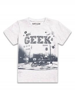 Тениска с къс ръкав за момче в светло сиво Geek