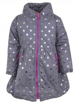Дълго детско яке за момиче в сиво със сребърни точки