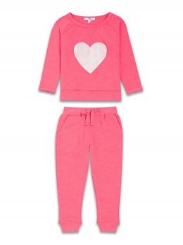 Спортен комплект за момиче розов с голямо сърце