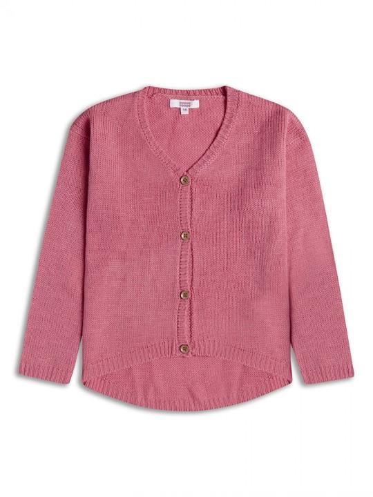 Трикотажна жилетка с копченца за момиче в розово