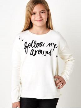Ватирана спортна блуза за момиче в кремаво с асиметрична линия