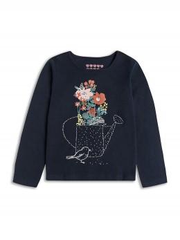 Памучна блузка с дълъг ръкав за момиче в тъмно синьо и принт цветя