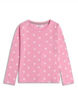 Тънка блузка с дълъг ръкав за момиче в розово със звезди