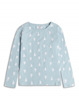 Тънка блузка с дълъг ръкав за момиче в синьо със сърца
