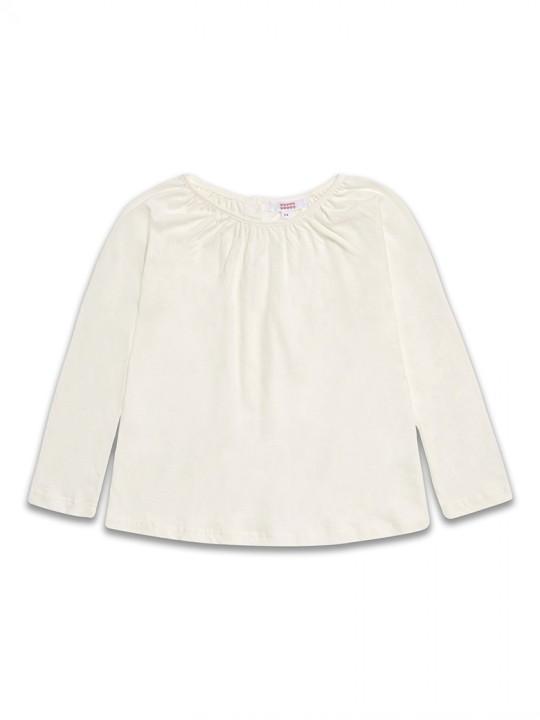 Памучна блузка с дълъг ръкав за момиче в кремаво