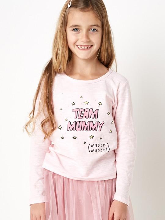 Памучна блузка с дълъг ръкав за момиче в розово