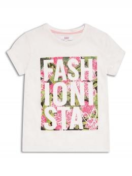 Тениска за момиче с модерен принт с цветя и напис