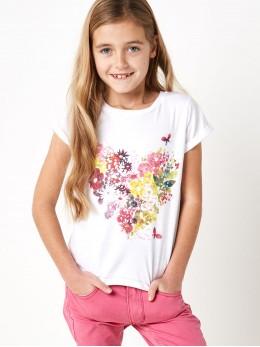 Тениска за момиче с принт цветя и пайети