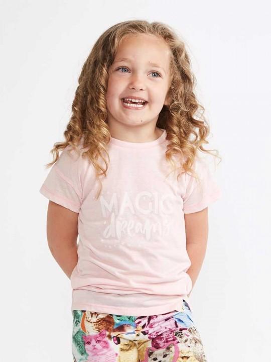 Тениска за момиче в розово с кокетна цепка