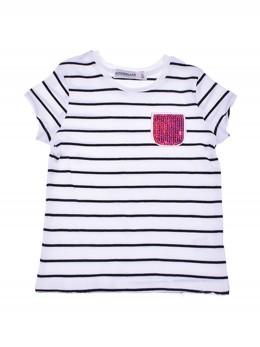 Тениска за момиче райе и джоб розови пайети