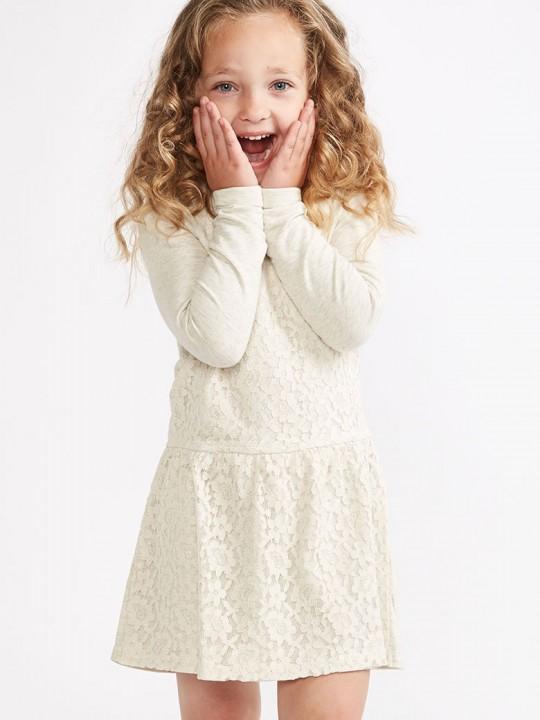 *ИЗЧЕРПАН* Детска дантелена рокля от трико