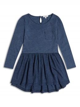 Детска рокля от трико с асиметрична линия, цвят деним