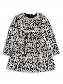 *ИЗЧЕРПАН* Детска зимна рокля с жакардов десен в черно и бяло