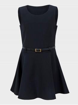 Детска ученическа рокля с коланче в тъмно синьо Ex-Store