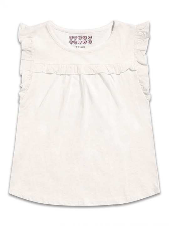 Топ с къдрички за по-големи момичета в бяло