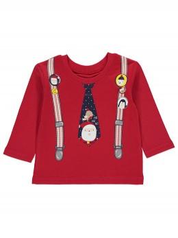Коледна блузка червена с принт тиранти