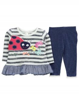 Сладък бебешки комплект за момиченце с райета 'Калинка'