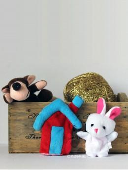 Плюшени образователни играчки за пръсти 'Заек и вълк' (3 бр. комплект)