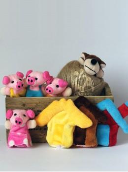 *ИЗЧЕРПАН*  Плюшени образователни играчки за пръсти 'Трите прасенца' (8 бр. комплект)