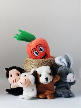 *ИЗЧЕРПАН* Плюшени образователни играчки за пръсти 'Животни и ряпа' (5 бр. комплект)