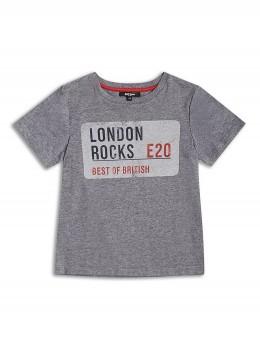 Тениска с къс ръкав за момче в сиво и яка щампа