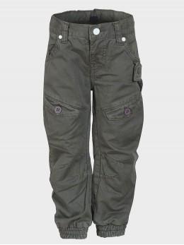Памучен панталон в милитъри стил за момче цвят графит