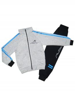 Ватиран спортен комплект за момче Sports сиво и тъмно синьо
