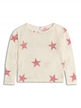 Тънък пуловер с дълъг ръкав за момиче в кремаво със звездички